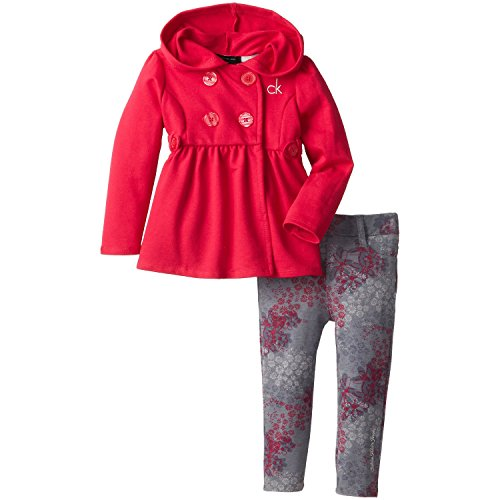 Calvin Klein Little Girls' Hooded Jacket With Print Legging, Pink, 4T front-749991