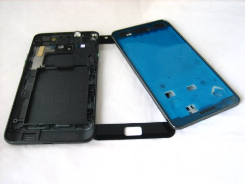 For Samsung Galaxy S2 Sii Gt-I9100 Black ~ Full Cover Housing+Front Glass Screen ~ Mobile Phone Repair Part Replacement
