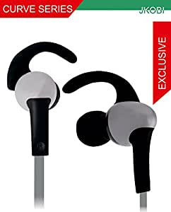 Jkobi Sports Series C Shape Fitness Wired Earphone Headset Compatible For LG G3 -Silver With Black