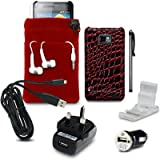 SAMSUNG GALAXY S2 9 PC LUXURY GIFT ACCESSORY PACK - RED CROCODILE SKIN PU LEATHER BACK COVER / CASE / SHELL / SHIELD + SCREEN PROTECTOR + POUCH + HEADSET + USB MINI CAR CHARGER + USB MAINS CHARGER + MICRO USB CABLE + STYLUS + DESK STAND PART OF THE QUBITS ACCESSORIES RANGEby Qubits