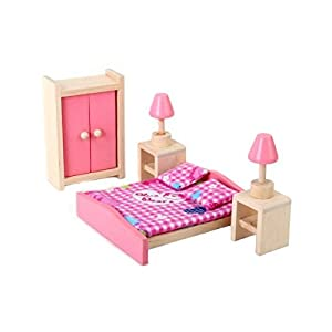 Dollhouse Furniture Wooden Toy Bedroom Set