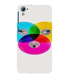 PrintVisa Colorful Records Design 3D Hard Polycarbonate Designer Back Case Cover for HTC Desire 826