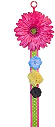 Hanging Hair Clip and Hair Bow with BLOOMING DAISY By Funny Girl Designs 3 FEET LONG (Hot Pink Daisy with Hot Pink and Lime Green Dot Ribbon)
