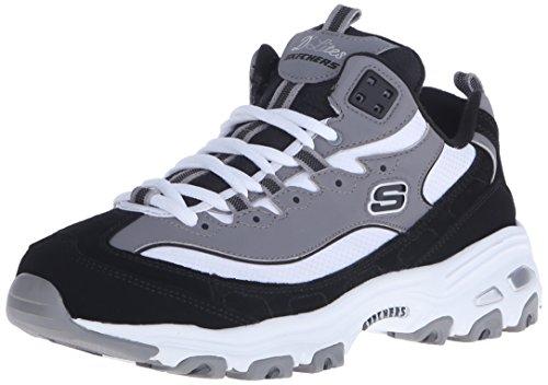 Skechers Sport Women's D'lites D'liteful Fashion Sneaker, Black/Gray/White, 8 M US