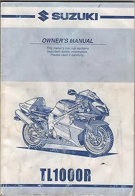 2001 SUZUKI MOTORCYCLE TL1000R P/N 99011-02F63-03A OWNERS MANUAL (582) (Tl1000r Parts compare prices)