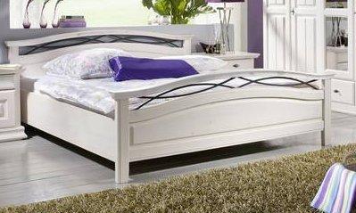 Doppelbett Bett 'Sabrina II' 180x200cm Kiefer weiß massiv Holz Landhaus
