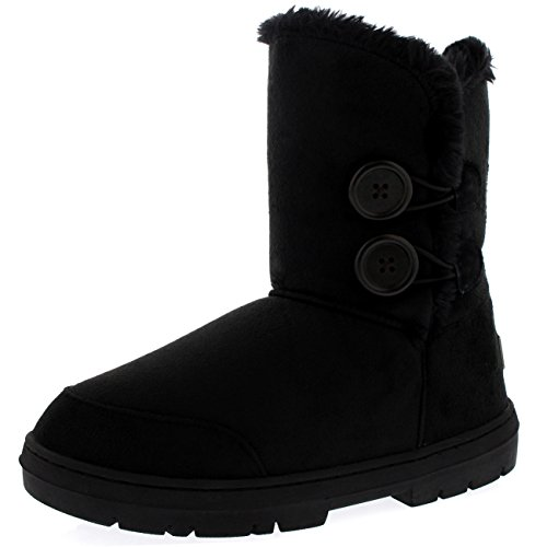 Womens Twin Button Fully Fur Lined Waterproof Winter Snow Boots ,11 B(M) US,Black