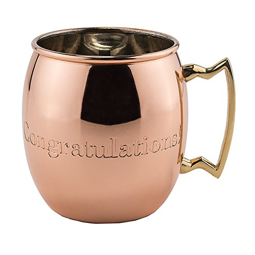Old Dutch International, Purveyors of the ORIGINAL MOSCOW MULE MUG, 16-Ounce Solid Copper CONGRATULATIONS engraved Moscow Mule Mug