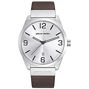 Pierre Cardin Men's 43mm Brown Leather Band Steel Case Quartz Silver-Tone Dial Analog Watch PC107911F01