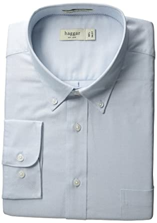 Haggar Men's Regular Fit Pinpoint Oxford Solid Long Sleeve Dress Shirt, Light Blue, 14.5(32/33)