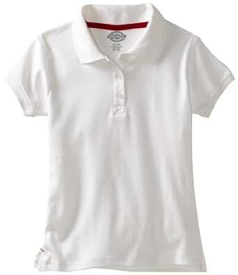 Dickies Little Girls' Uniform Short Sleeve Interlock Polo, White, Small