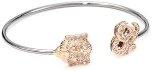 Borgioni Rose and Black Rhodium Gold Buddha and Ohm Open Cuff Bracelet