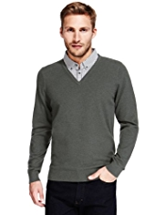 XS Cotton Rich Checked Mock Layered Shirt Jumper
