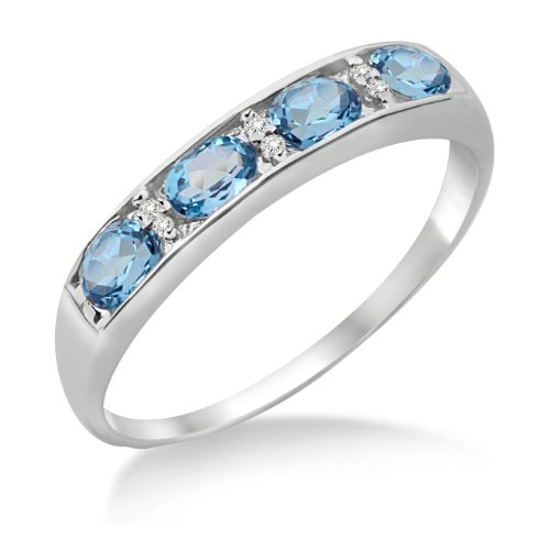 Eternity Ring, 9ct White Gold, Diamond and Blue Topaz Channel Set Eternity Ring, Size L, by Miore, MT014BTRM