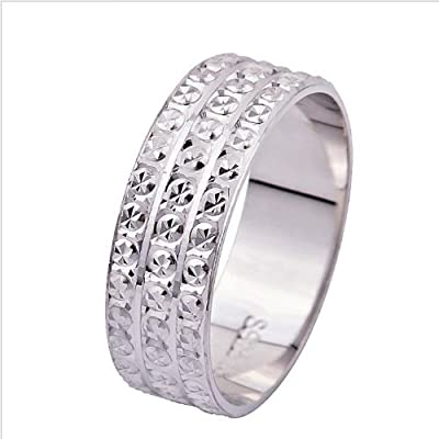 925 Sterling Silver Three Rows of Diamonds Eternity Engagement Wedding Rings for women men teenage girls, Size Sizer uk M J L K T N P Q R O I S V Z, with a Gift Box, Ideal Gift for Birthdays / Christmas / Wedding---Size: P 1/2 , Model: X22962
