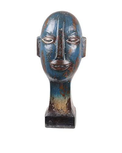 Privilege Tall Ceramic Head Sculpture, Blue