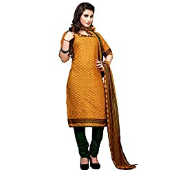 Mahati Women's Cotton Unstitched Dress Material(6003_Mustard)