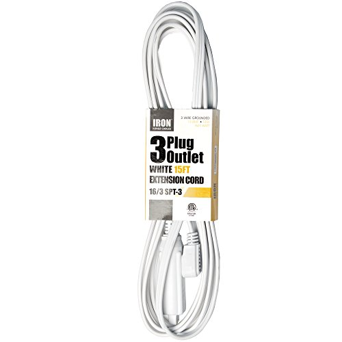 15 Ft Extension Cord with 3 Electrical Power Outlet - 16/3 Heavy Duty White Cable (Extension Cord Flat Plug 15 Feet compare prices)