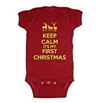 Festive Threads Keep Calm Its My First Christmas Baby Bodysuit