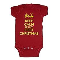 Festive Threads Keep Calm Its My First Christmas Baby Bodysuit