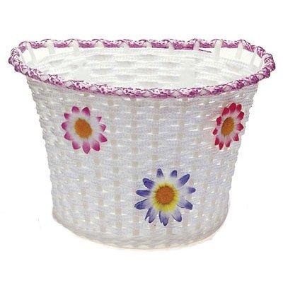 Sunlite Large Front Bicycle Basket 10.75 x 8 x 7.25 White With Flowers