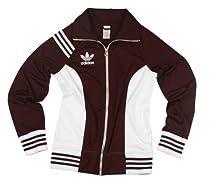 Adidas Womens Lightweight Trefoil Track Jacket (Large, Maroon/White)