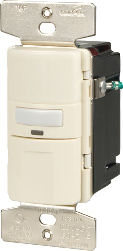 Cooper Wiring Devices VS310U-LA-K Motion-Activated Vacancy Sensor Wall Switch, Light Almond