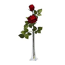 Nearly Natural Home Garden D?or Roses w/Tall Bud Vase Silk Flower Arrangement Red by Nearly Natural