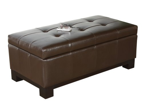 BEST Leather Storage Ottoman with Tufted Top