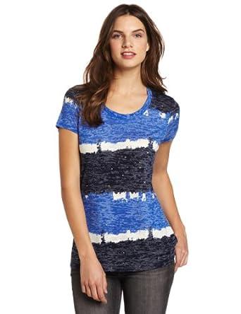 Chaus Women's Tie Dye Stripe Embellished Crew Neck Tee, Bright Blue, Medium