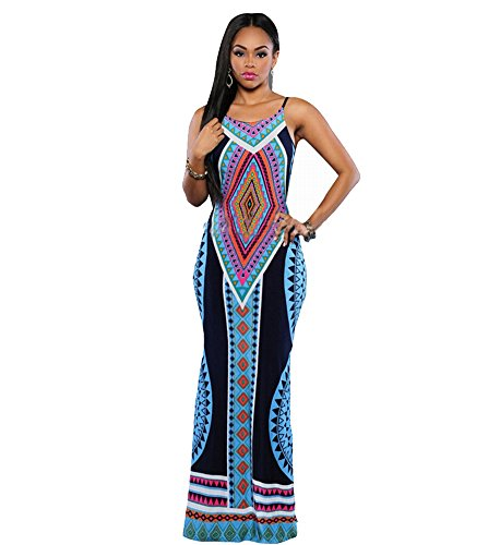 Women's Casual Prints Summer Sleeveless Tribal Printed Casual Beach Tunic Dress