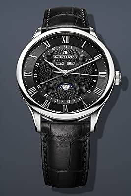 Maurice Lacroix Masterpiece Tradition Phase de Lune 40mm Watch - Black Dial, Black Alligator Strap MP6607-SS001-310 by Maurice Lacroix