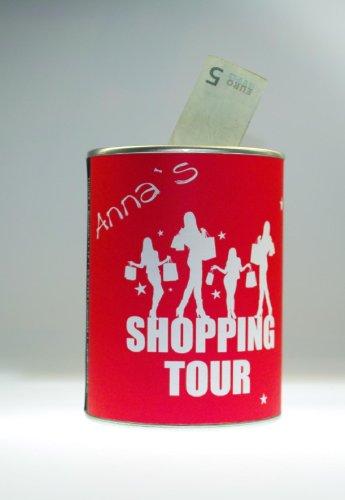 "Spardose Sparbüchse ""Shopping Tour"" - Individualisierbar mit Namen!"