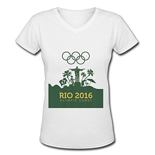 Women's White V Neck T Shirt Rio 2016 Olympic Games A New World