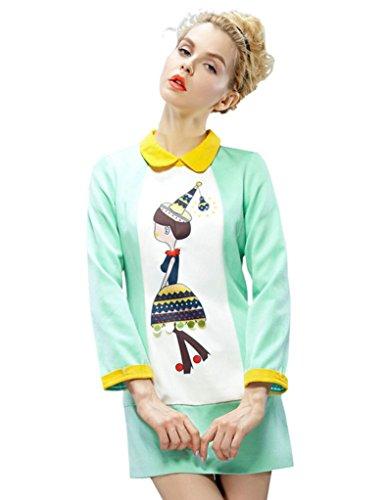 Elf Sack Womens Autumn Dress Long Sleeve Turn Down Collar Printing Large Size Green
