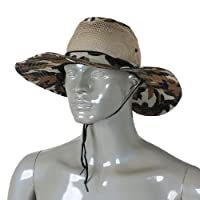 Como Men Wide Full Brim Brown Black Camouflage Mesh Design Fishing Hiking Hat Cap from Como