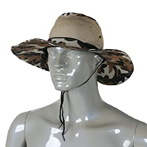 Men wide full brim brown black camouflage mesh design for Mesh fishing hats