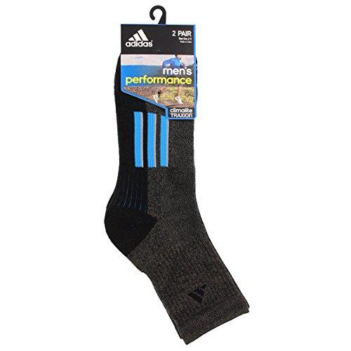Adidas Men's Climalite X Ii Mid-Crew Socks (2 Pack), Black Graphite Marl/Solar Blue/Light Onix, One Size