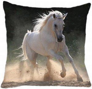 coussin cheval blanc 40 cm x 40 cm 100 polyester cuisine maison. Black Bedroom Furniture Sets. Home Design Ideas