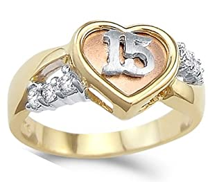 Amazon.com: Heart Quinceanera Ring CZ 14k Yellow Gold 15
