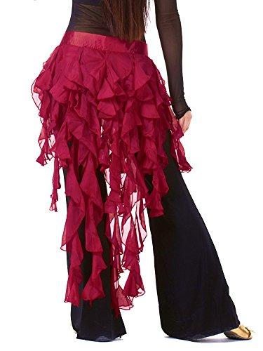 Molly Belly Dance Hips Scarf Costume Sexy Girl Tassel Belt Skirt FreeSize Wine Red