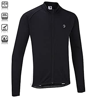 Tenn Mens Winter Weight Cycling Race Jersey - Long Sleeve - Black/White S