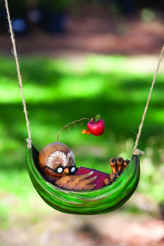 Day Dreamer Owl Statue In Hanging Polystone Hammock front-610379