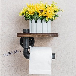 Industrial Toilet Paper Holder with Wooden Shelf Metal Wall Storage Iron Pipe Missingift Tissue Roll Hanger (Single Faced)