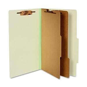 ACCO 16046 ACCO Pressboard 25-Point Classification Folders, Lgl, 6-Section, Leaf GN, 10/Box