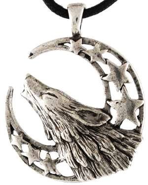 Howling Wolf Moon Celestial Amulet Necklace Pendant