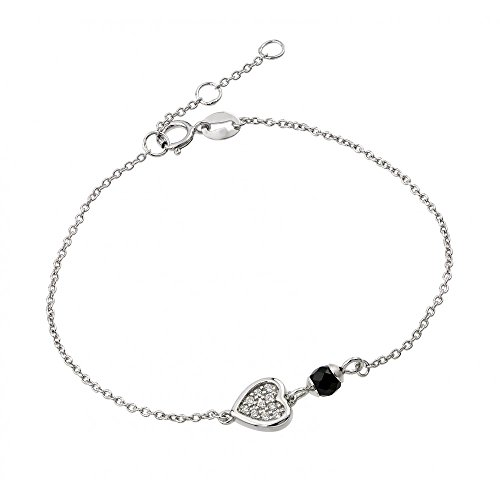 Sterling Silver CZ Cubic Zirconia Heart With Black Enamel Bead Bracelets For Children & Women 7 + 1 Extension