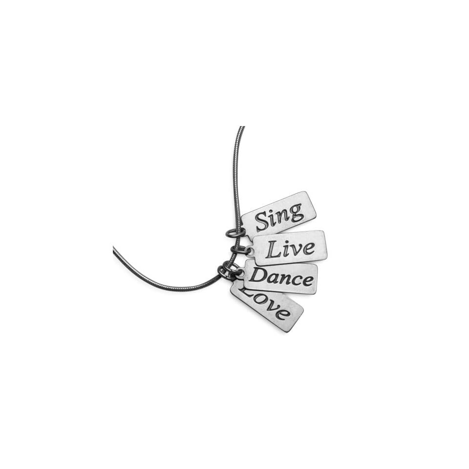 Silver Sing Live Dance Love Inspirational Message Necklace Jewelry