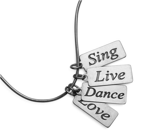 Sterling Silver Sing, Live, Dance, Love Inspirational Message Necklace