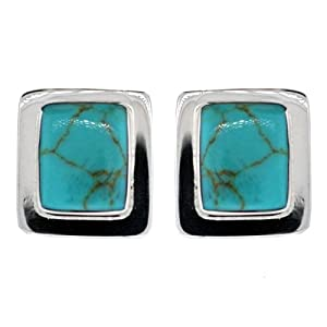 Sterling Silver Turquoise Inlay Square Clip-On Earrings